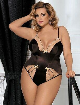 Plus Size Sexy Gold Teddy Sheer Lace Cut Out Bows Big Girl Lingerie 16C-22DD