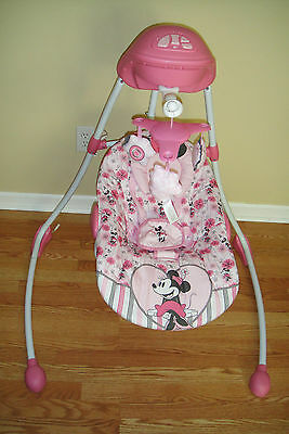 DISNEY MINNIE MOUSE BABY SWING MUSICAL 180 DEGREE FULL SWING w/MOBILE,ADAPTER