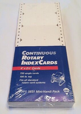 "Tops 5651 Mini-Handi Pack Rolodex 750 Rotary Index Cards 4"" x 2 1/6"" Continuous"