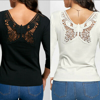 US Women Fashion Long Sleeve Shirt Casual Lace Blouse Loose Cotton Tops T Shirt
