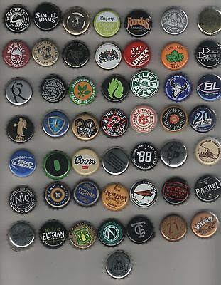 Lot of 50 different beer bottlecaps-used bottle caps crowns Mostly US Brewery