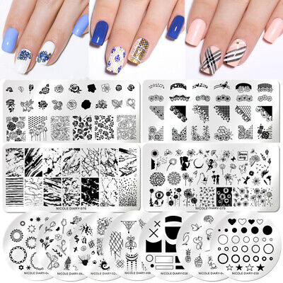Born Pretty Nail Stamping Plates Square Round Rectangle Manicure Image Templates