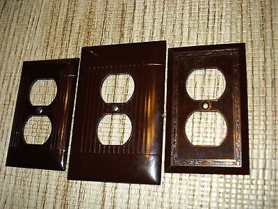 3 Vintage Bakelite  Ribbed Bordered Outlet Receptacle Plate Covers ...