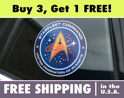 Star Trek Starfleet Command Logo Circle Cut Vinyl Bumper Sticker Decal StarTrek
