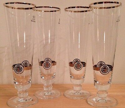 "Warsteiner German Beer Pilsner Glasses Gold Rim .2L Size Set Of 4 8"" Tall"