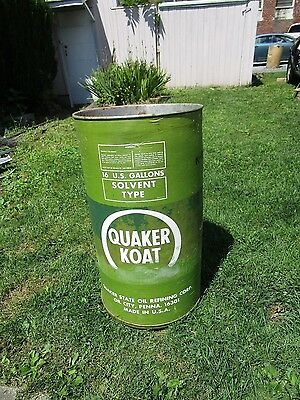 Vintage QUAKER STATE OIL Barrel QUAKER KOAT Drum Trash Can