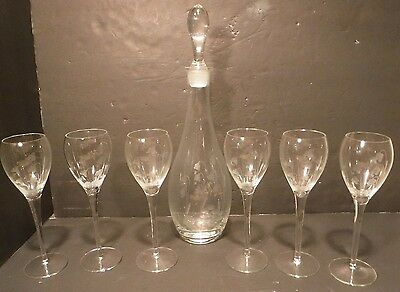 Beautiful Vintage Glass Decanter, Glass Stopper & 6 Wine Glassed Etched Design