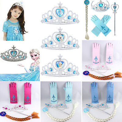 Frozen Princess Queen Elsa Anna Girls Tiara Crown Wig Wand Gloves Cosplay Props