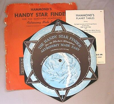 Vintage Hammond's Handy Star Finder~Astronomy Map~Northern Hemisphere~1956-1960