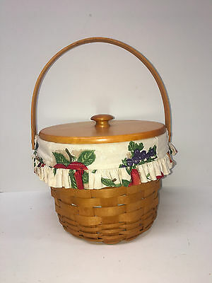 Longaberger Round basket with Lid, Fruit Medley Fabric/Plastic Liners 1996