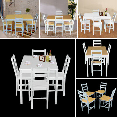 Solid Dining Table and 4 Chairs Home Kitchen Dining Set Furniture in Wooden Pine