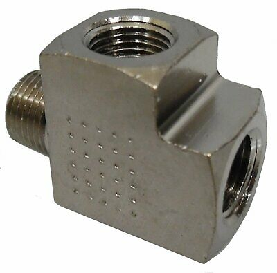 1-8 NPT Male x Female x Female Tee - Nickel Finish - FITT008N - Air Fitting