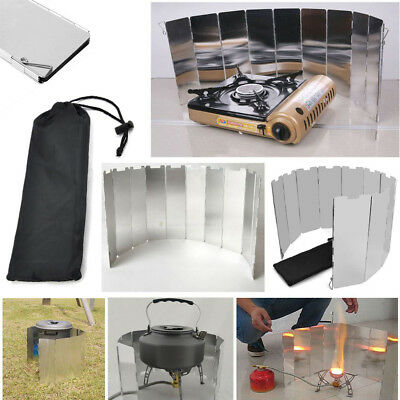 NEW Foldable 10 Plates Cooker BBQ Gas Stove Wind Shield Screen Picnic Outdoor AU