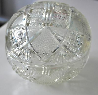 VINTAGE Czech Crystal Round Globe Dish with Cover Unique and Rare Collectible