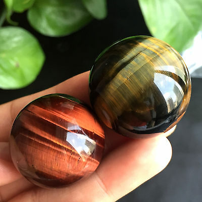 BEST!!!2pcs 87g Natural Red/Blue Tiger's Eye Crystal Sphere Ball Healing A8315