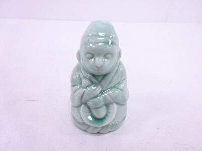 3153730: Japanese Tea Ceremony Celadon Incense Container Monkey Holding Mashroom