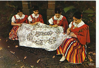 Portugal Postcard - Madeira - Embroiderers - Four Young Girls - Ref AB2846