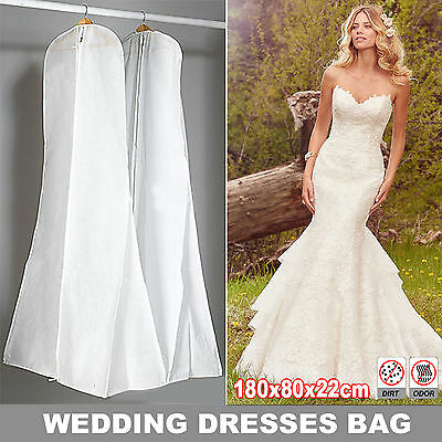 Extra Large 180cm White Wedding Dress Cover Bridal Gown Garment Storage Bag Part
