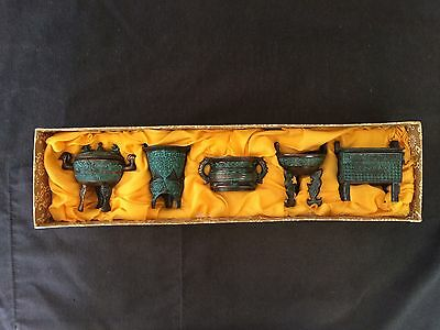 BOXED COLLECTION 5x MINIATURE SHANG & CHOW BRONZE CENSER REPRODUCTION CENSERS