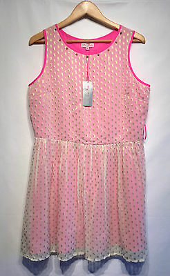 Ladies Pretty Spring Summer Pink, Gold Skater Style Dress Size 16 BNWT