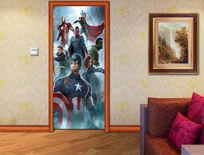 The Avengers DOOR WRAP Decal Wall Sticker Wall Mural Personalized ANY NAME D01