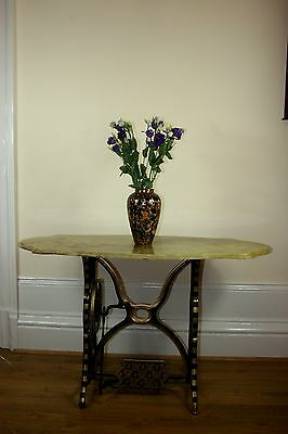 Beautiful Reclaimed Antique Cast Iron Singer Side Table with Composite Marble