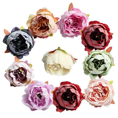 10pcs Silk Rose Head Artificial Flower Heads Embellishments for Wedding Decor