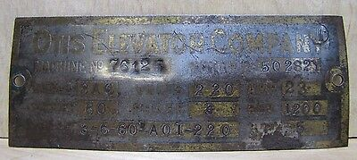 Old OTIS ELEVATOR Company Metal Nameplate Tag Small Sign Machine No Motor No