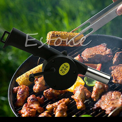 Hand Crank BBQ Fan Fire Air Blower Fireplace Camping Bellows Grill Flame Exciter