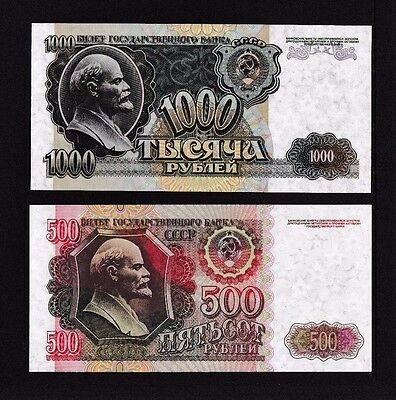 RUSSIA  500/1000 Rouble Banknotes  Notes UNC 1992