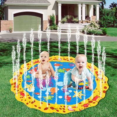 "40"" Children Inflatable Round Splash Water Mat Garden Lawn Sprinkler Outdoor Toy"