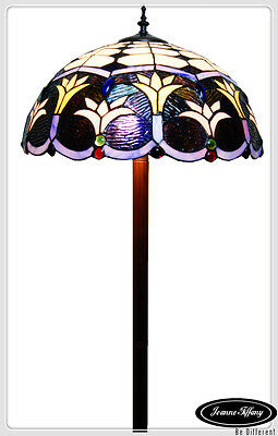 "Gorgeous  Large 18"" Blue Victorian Style Stained Glass Tiffany Floor Lamp"