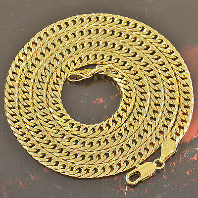 18K 18Ct Gold Filled Cuban Double Curb Ring Chain Solid Heavy Mens Gift Necklace