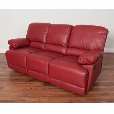 CORLIVING LEA BONDED Leather Reclining Sofa in Red