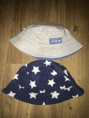 GEORGE Boys grey And Blue Star Print Summer Hat Age 0-3 Months WORN ONCE