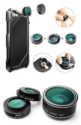 Shock/Water Proof Alu Metal Glass Camera Lens Case Cover For iphone 6 6s 7 7plus