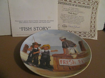 "1983 knowles jeanna down's collector plate friends i remember ""fish story"" w/coa"