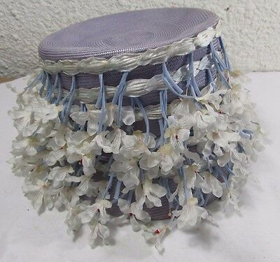 Cathay Of California Vintage Flower Blooms Encrusted Women's Hat Raffia