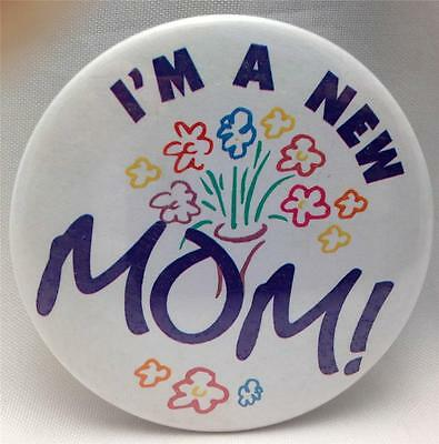 Birth Announcement Button Pins : I'm a NEW MOM Button Pin ~ New MOM Gift