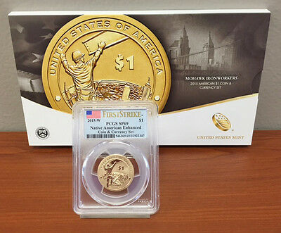 2015 W Native Mohawk Sacagawea COIN & CURRENCY SET PCGS SP69 SP 69 + $1 Note OGP