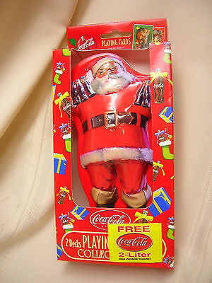 Christmas Santa Clause Collector Tin with 2 Coca-Cola Decks Playing Card New