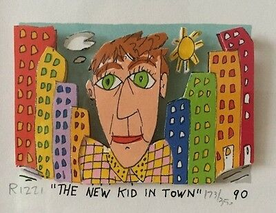 "James Rizzi 3-D Mini ""The new kid in town"" 1990 gerahmt"