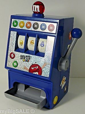 M&M's World Slot Machine Candy Dispenser Blue Red Light Sound Pull Handle Win