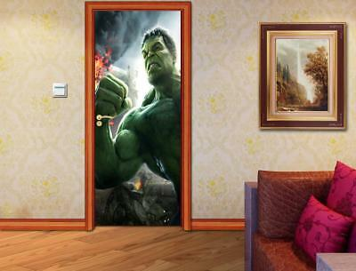 The Hulk Avengers DOOR WRAP Decal Sticker Wall Mural Personalized ANY NAME D61
