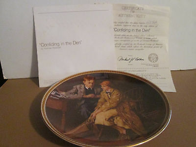 "1983 knowles norman rockwell collector plate ""confiding in the den"" w/coa"
