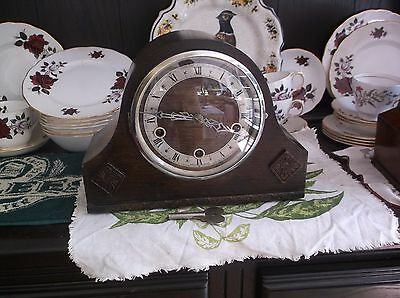 A Nice English  Mantle Clock  With  4X4 Westminster Chimes