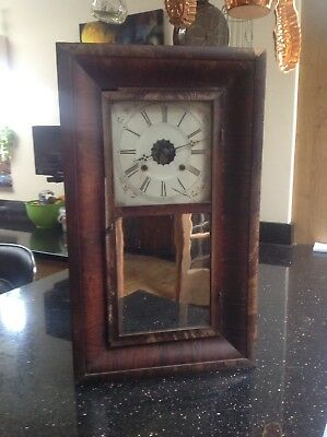 Antique American Wooden Case Wall Clock