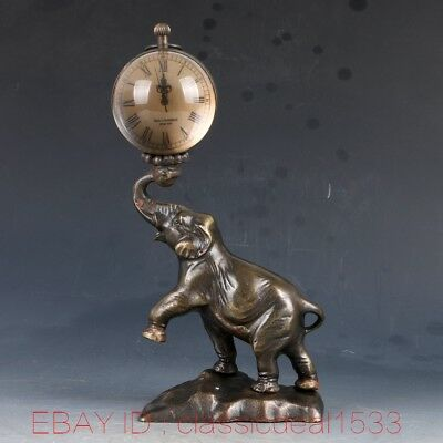 Vintage Collectible Old Chinese Brass Handwork Elephant Mechanincal Globe Clock