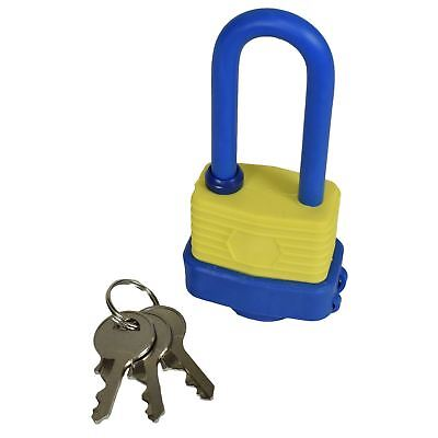 40mm Waterproof Padlock Weather Resistant Shed Gate 3 Keys Shank 53mm