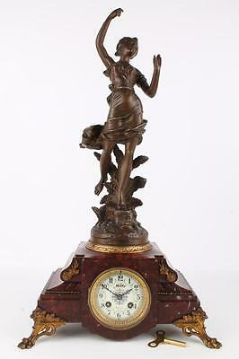Figuren- Pendule Kaminuhr LE ROSEAU 61,5cm by GUILLEMIN French Mantel Clock 1900